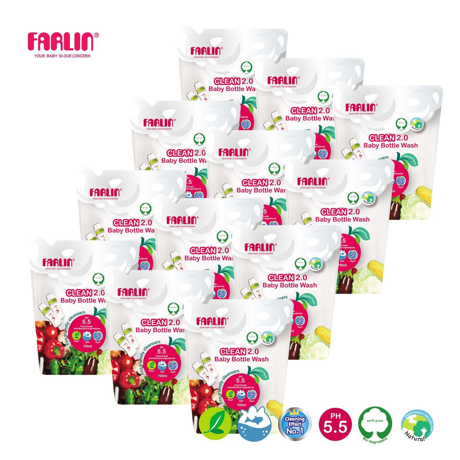 Farlin Clean2.0 Bottle Wash - 700ml Refill x 12bag
