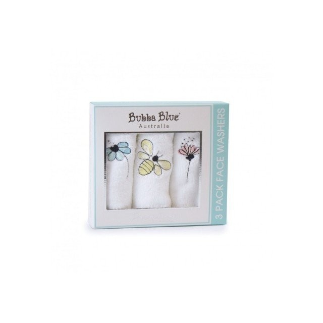 Bubba Blue 3 pk Bee Beautiful Face Washer Set