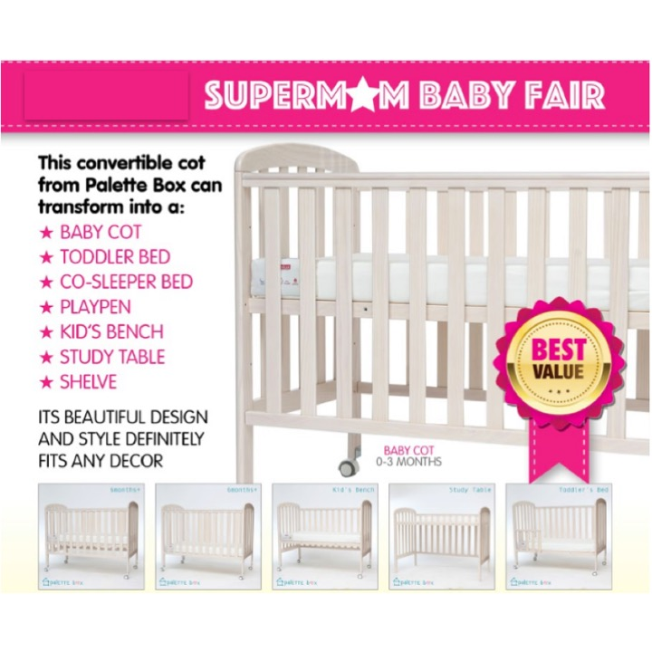 Sweet Dreams 7-in-1 Transformer Convertible Cot +F