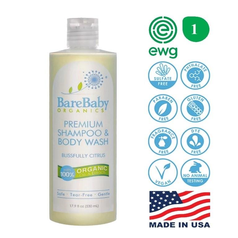 BareBaby Organics Premium Shampoo & Body Wash 530M