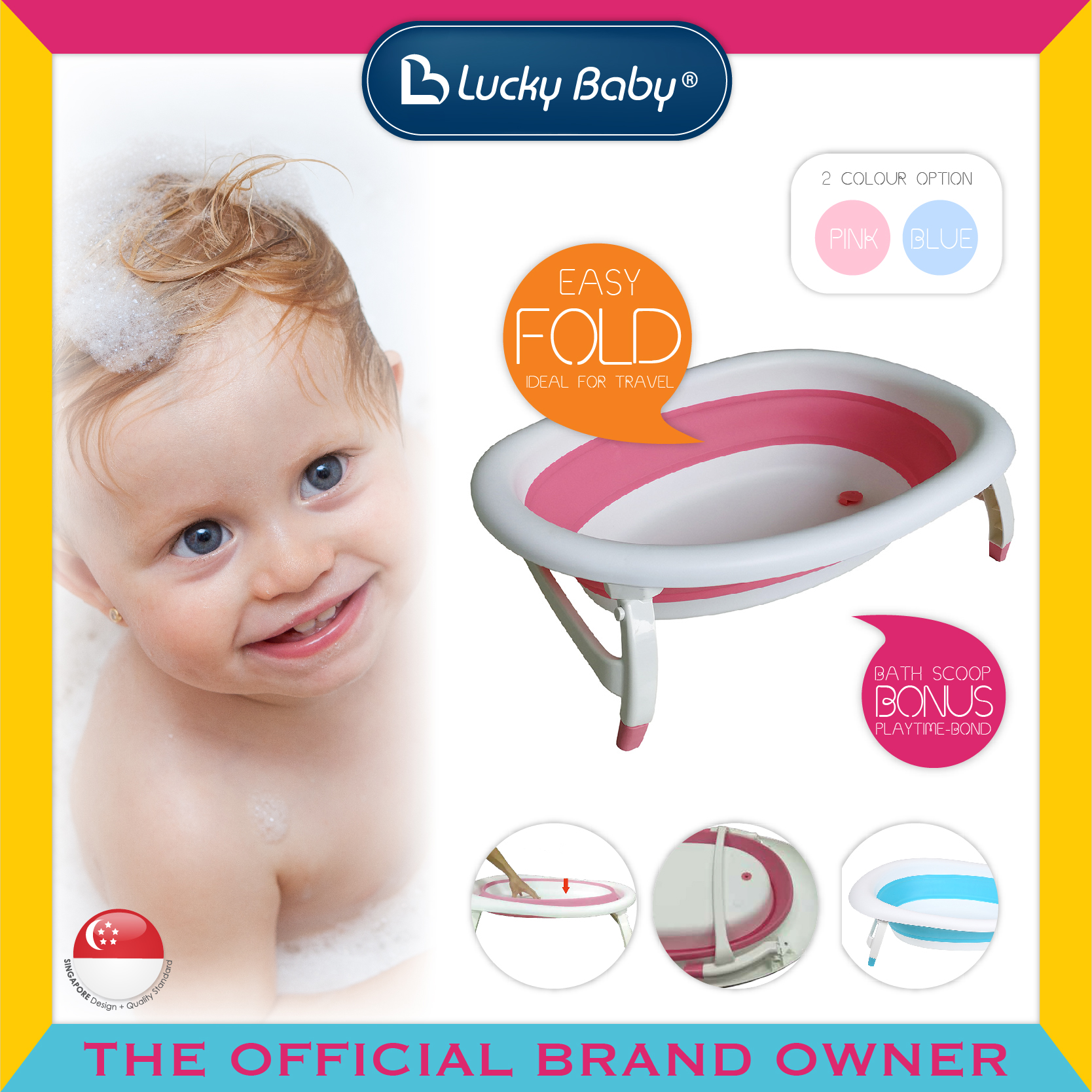 Lucky Baby® Portable Collapsible Bath Tub - Round