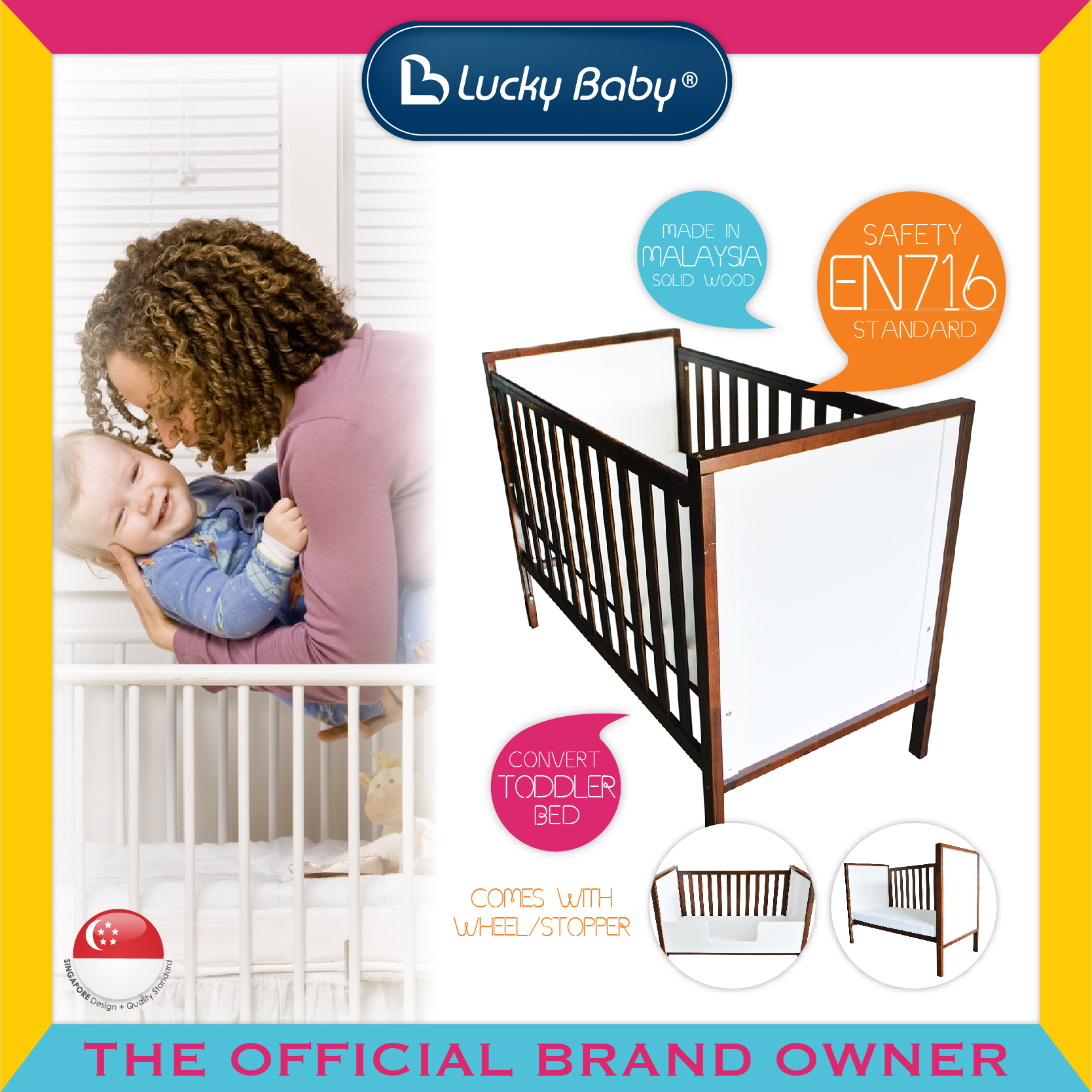 Lucky Baby® Dreem™ Wooden Cot