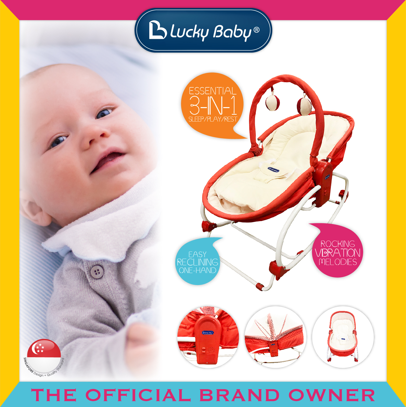 Lucky Baby® Rocky Snoozy™ 3 In 1 Rocker/Sleeper