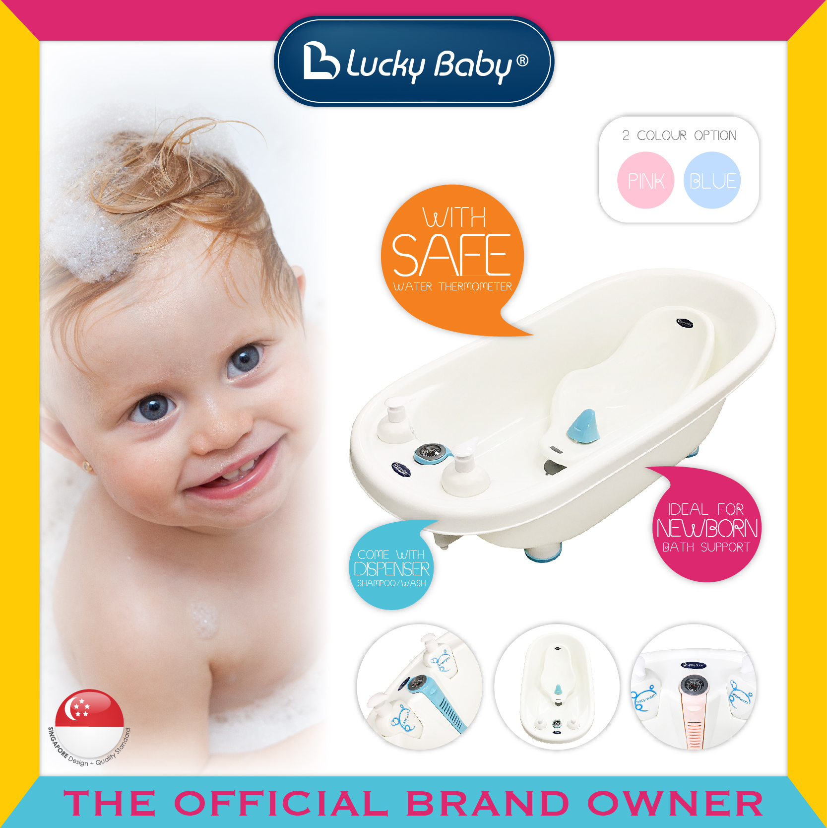 Lucky Baby® Bobbee™ Bath Tub W/Thermometer