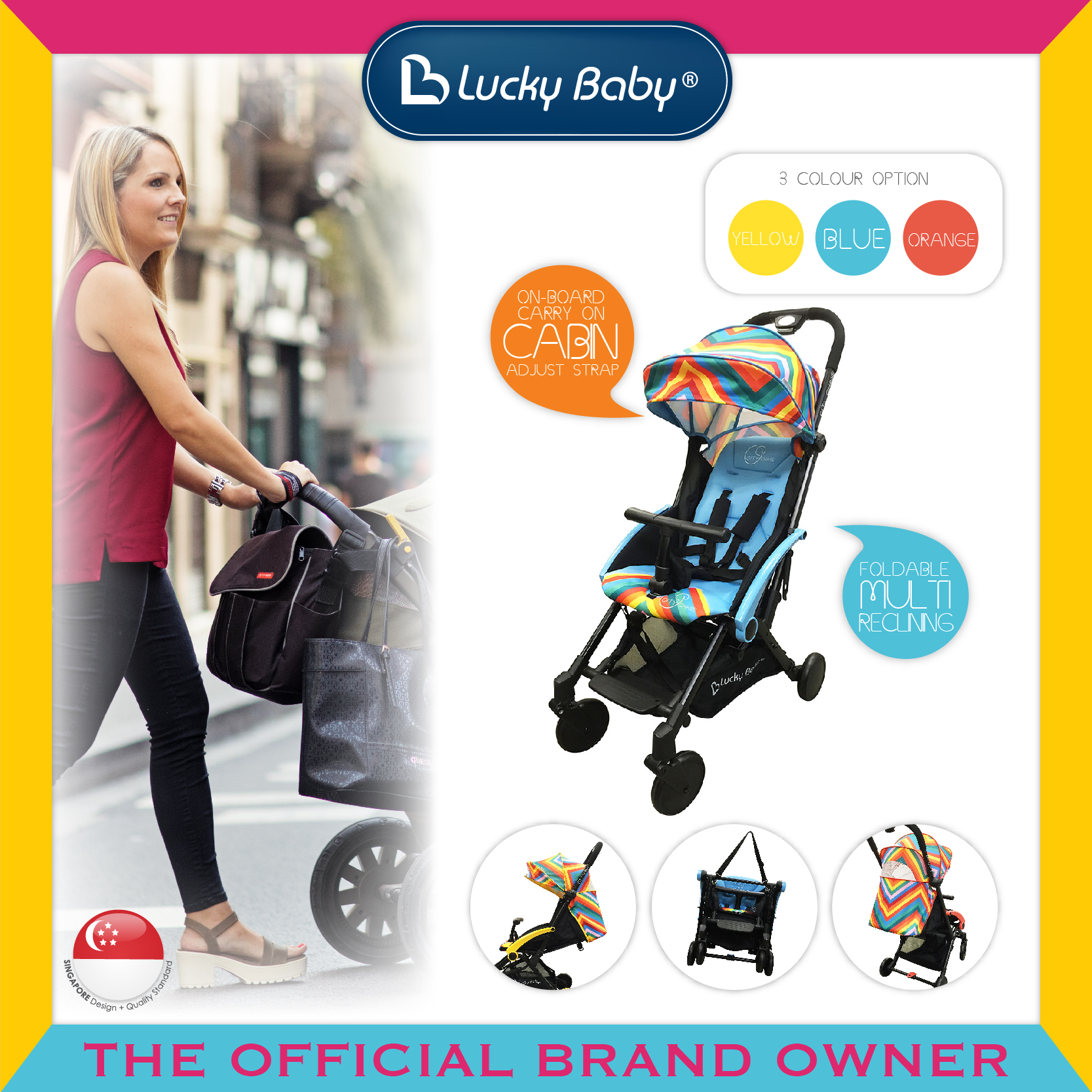 Lucky Baby® City Chase™ Active Stroller - Blue