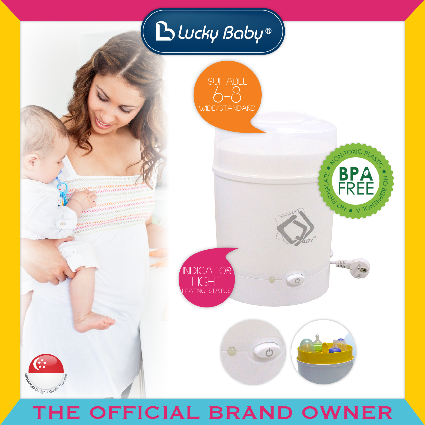 Lucky Baby® Jazzy™ 8 Bottles Steam Sterilizer