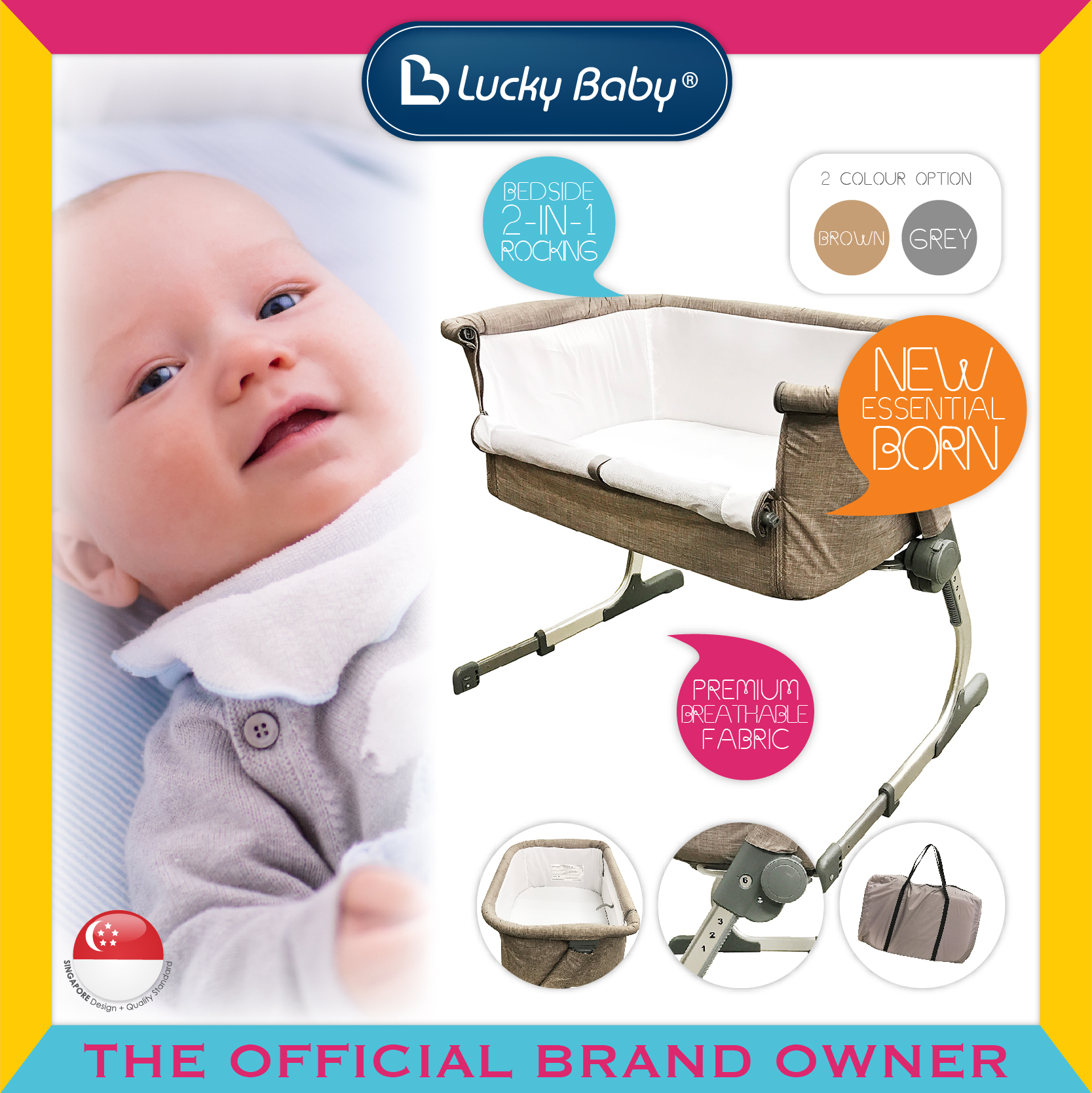 Lucky Baby® Dreemee™ Side Sleeping Crib - Brown