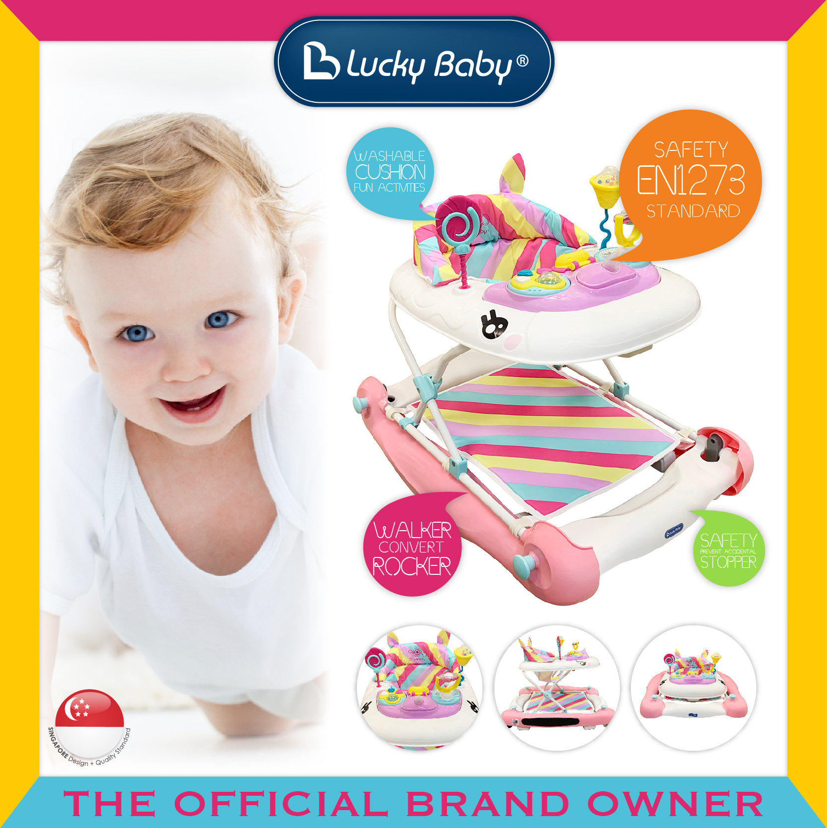 Lucky Baby® Yoona™ 2 In 1 Baby Walker/Rocker
