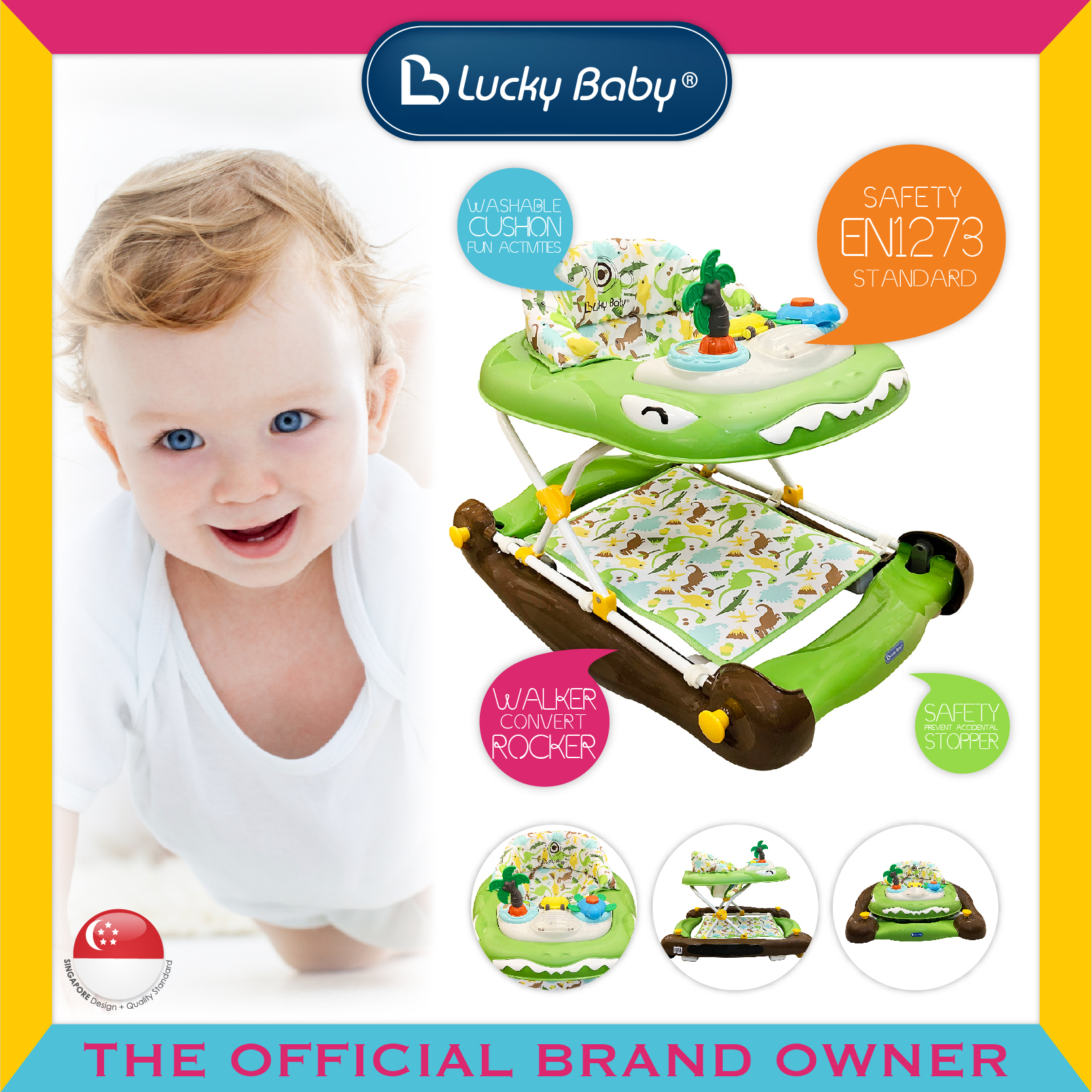 Lucky Baby® Derex™ 2 In 1 Baby Walker/Rocker