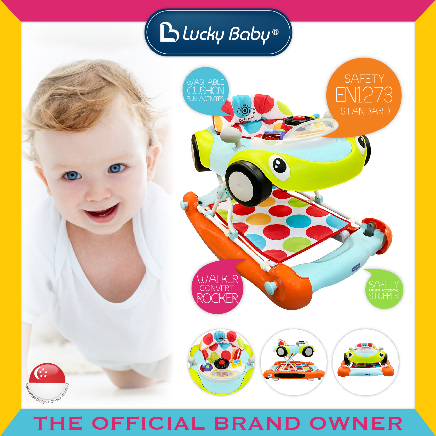 Lucky Baby® Bumble™ 2 In 1 Baby Walker/Rocker