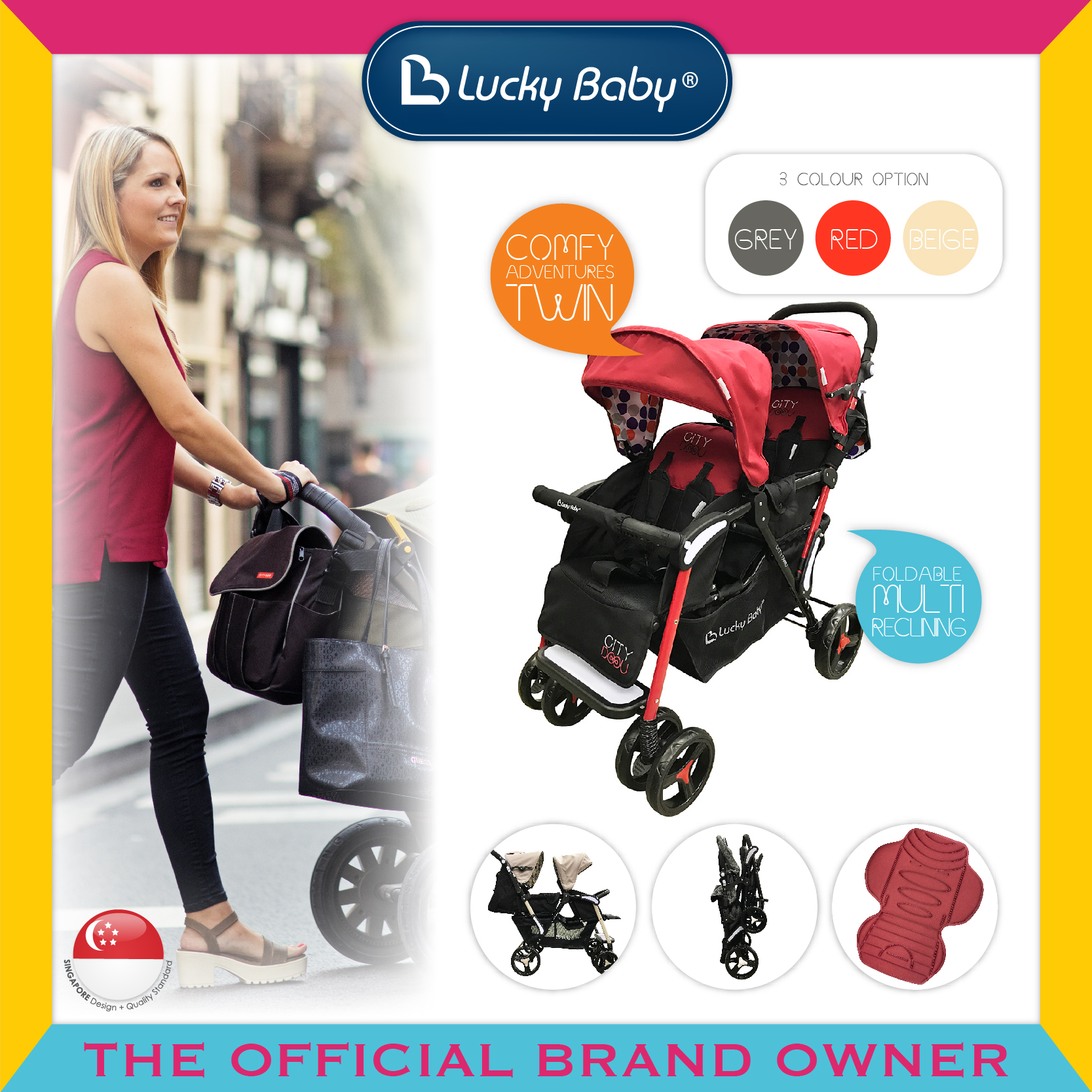 Lucky Baby® City Dou™ Twin Stroller - Red