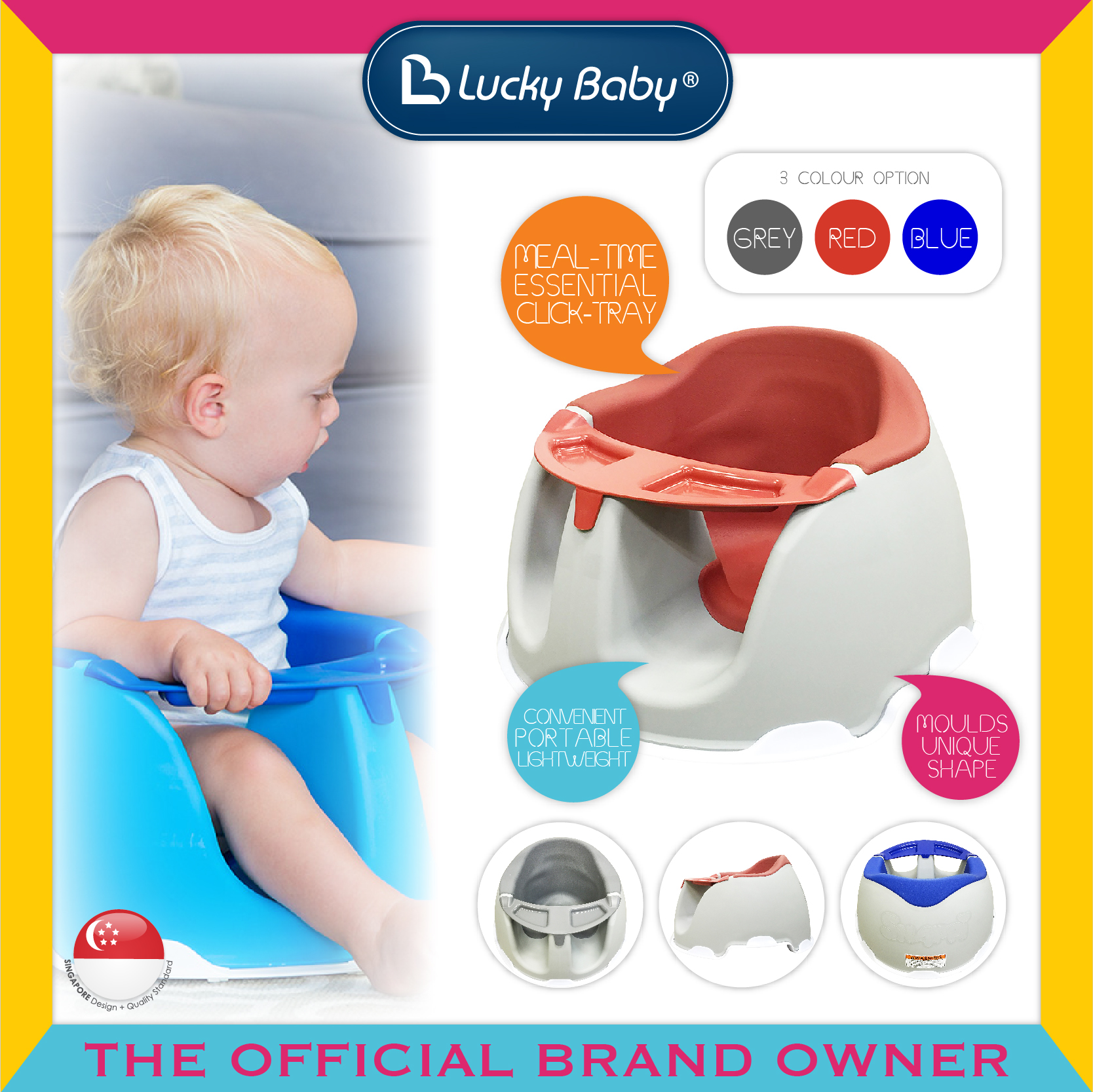 Lucky Baby® Snappi™ Baby Chair W/Tray - Red