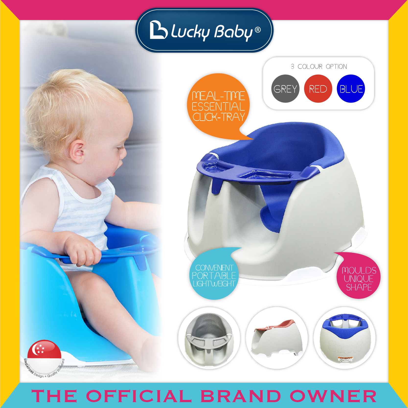 Lucky Baby® Snappi™ Baby Chair W/Tray - Blue