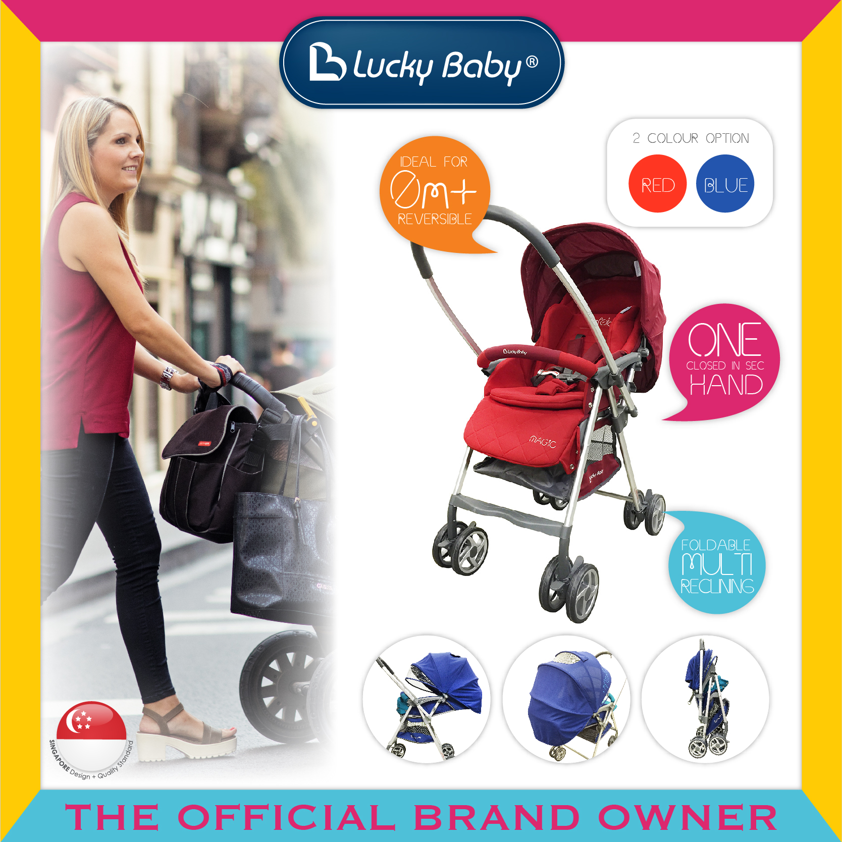 Lucky Baby® City Magic™ Stroller W/Reversible H