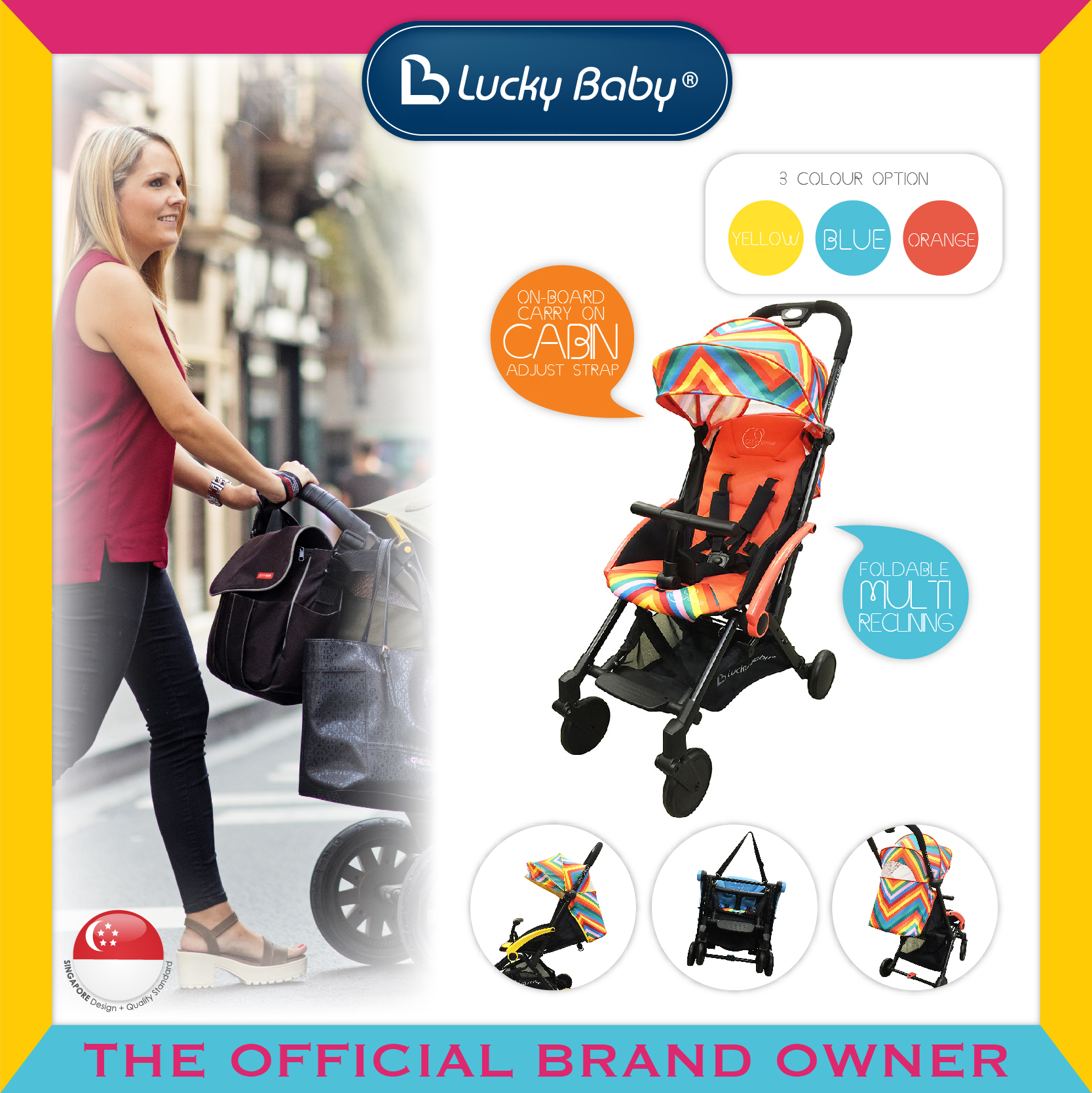 Lucky Baby® City Chase™ Active Stroller - Red