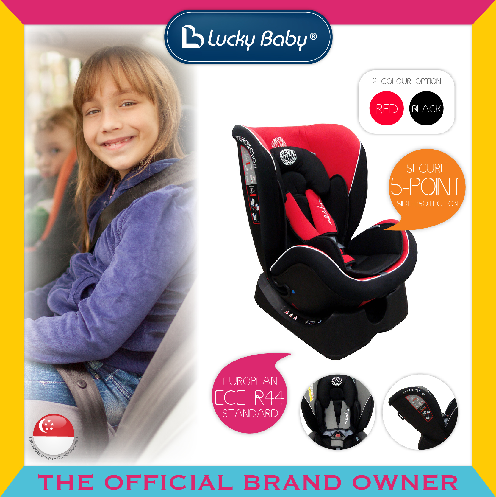 Lucky Baby® Nesto™ Safety Carseat - Red