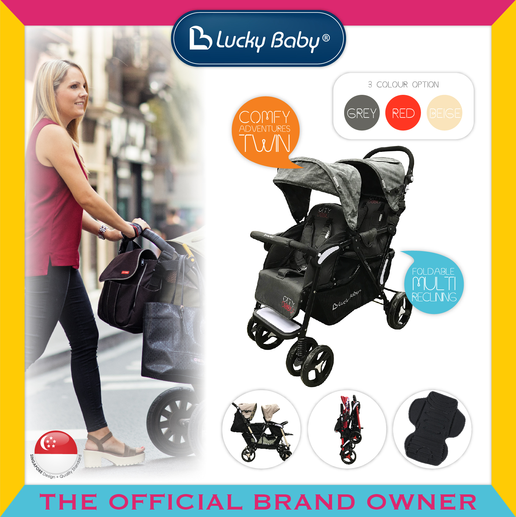 Lucky Baby® City Dou™ Twin Stroller - Black