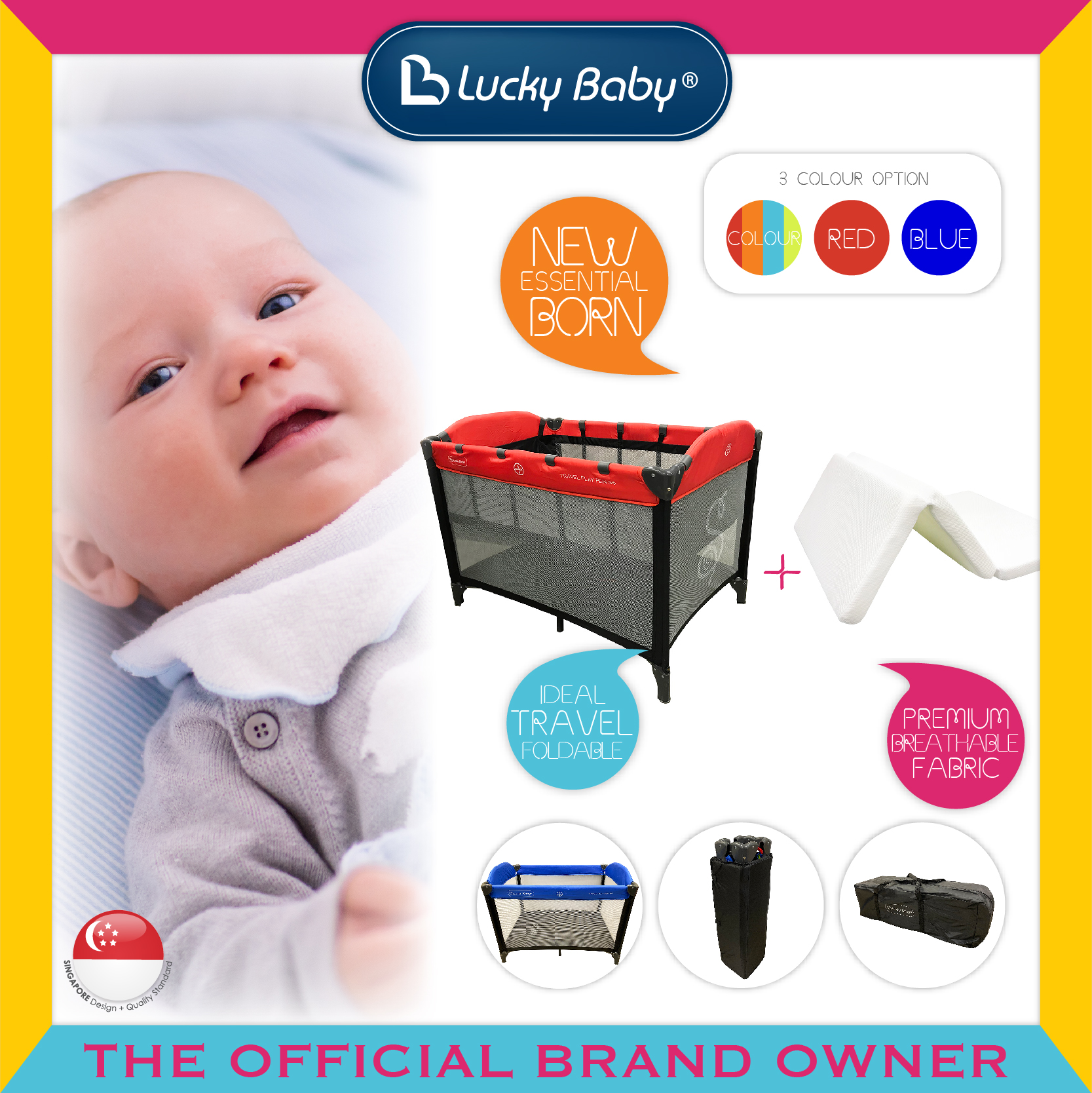Lucky Baby® S6™ Travel Playpen + iBreathe Folda
