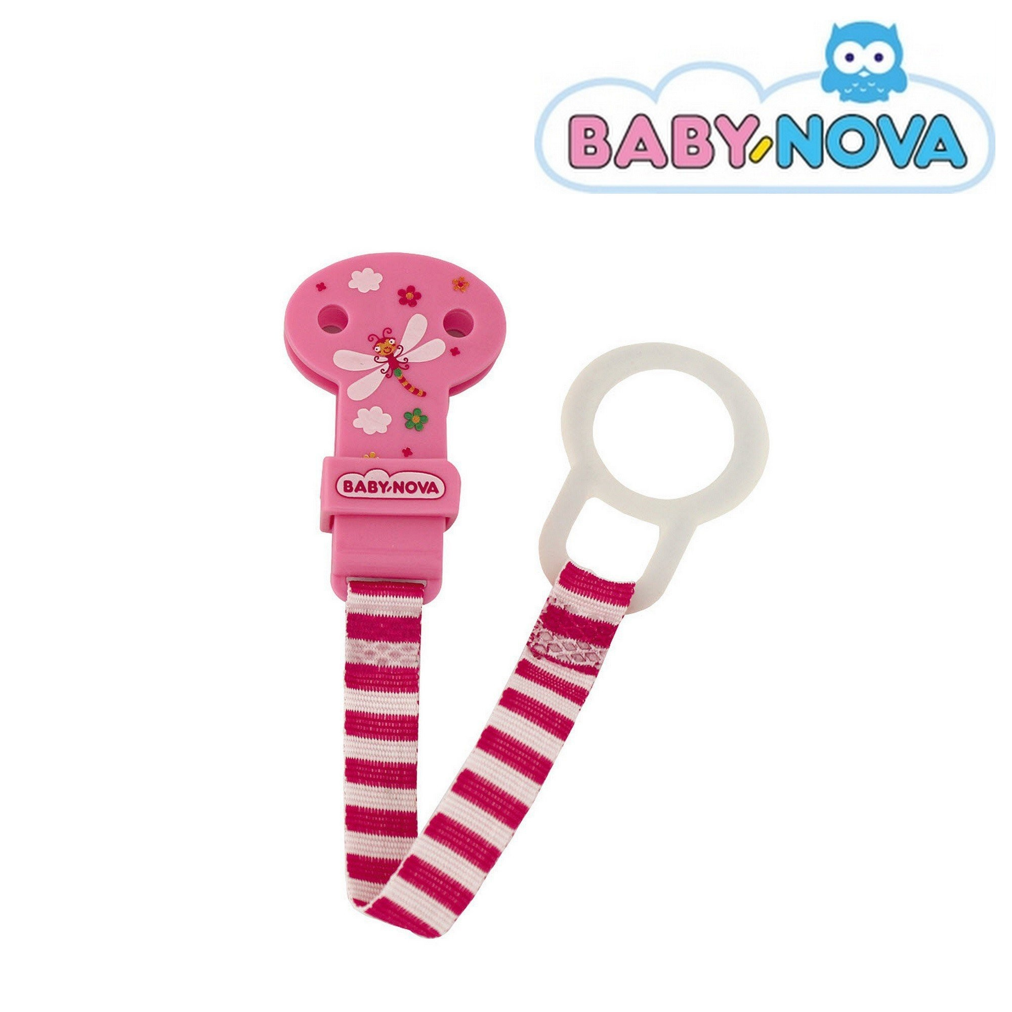 Baby Nova Pacifier Holder in Pink - Dragonfly