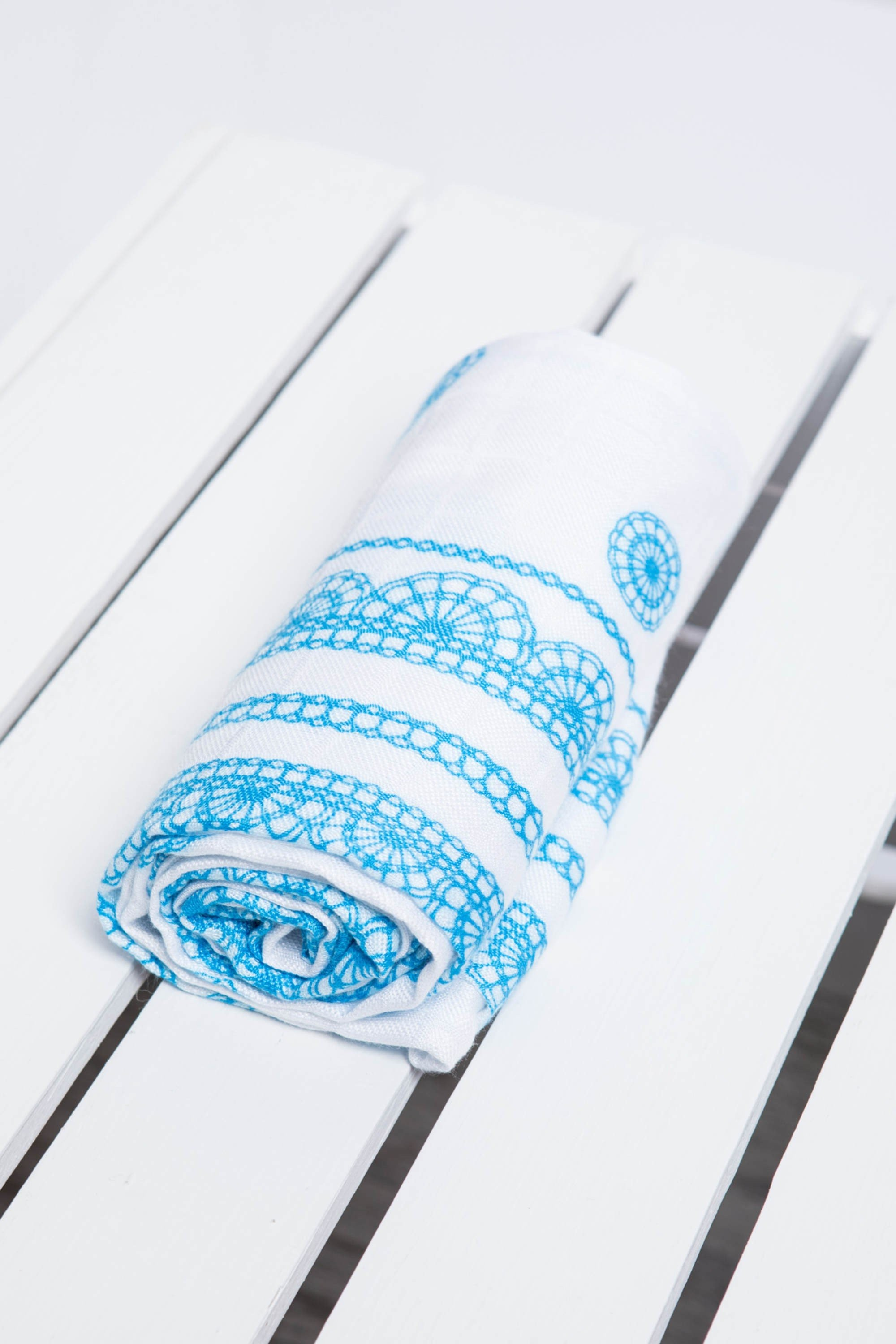 LennyLamb Muslin Square - ICED LACE TURQUOISE & WH