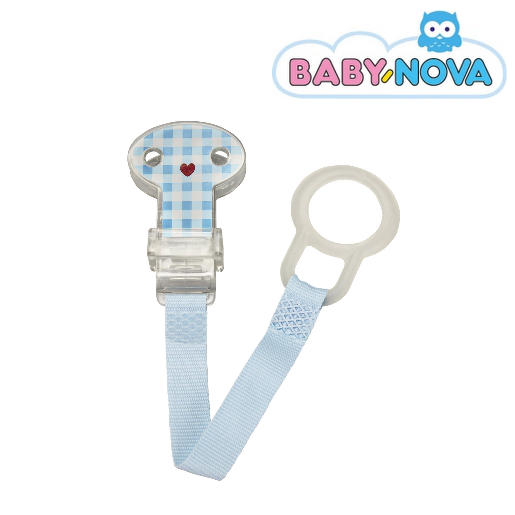 Baby Nova Pacifier Holder - Blue Checked