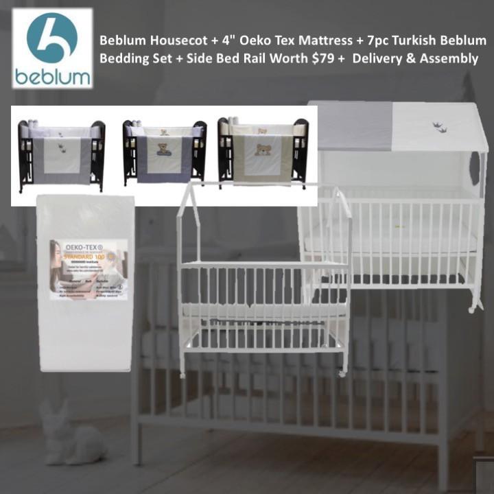 BEBLUM HOUSECOT WITH DROP SIDE + Oeko Tex Mattress