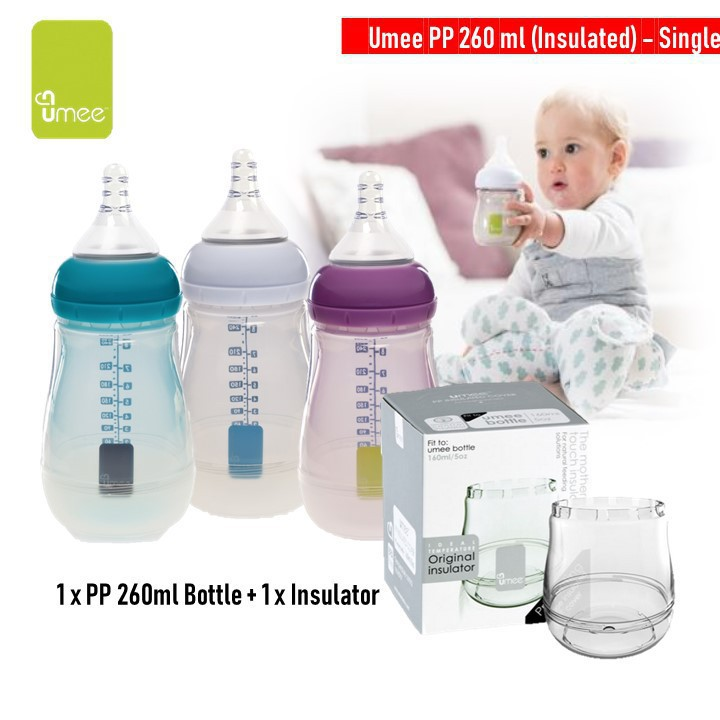 UMEE Pp 260ml bottle Single + Insulated
