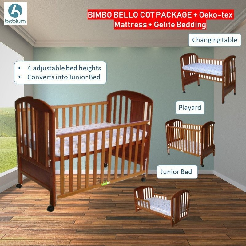 Beblum Bimbo Bello Cot  (Oak)+ Oeokotex 28''x52''x