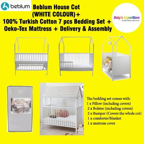 BEBLUM HOUSECOT WITH DROP SIDE + Oeko Tex Mattress