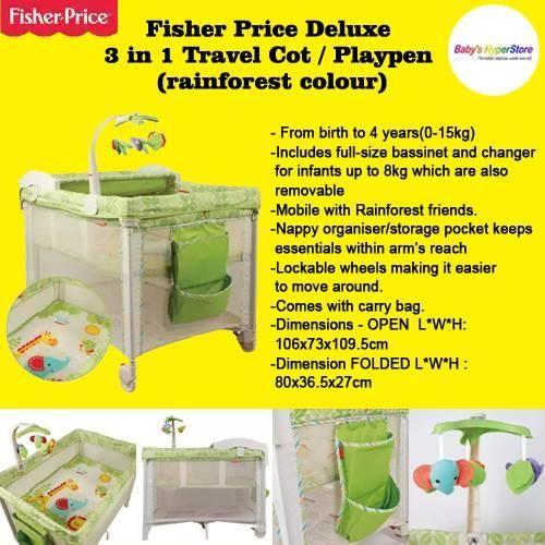 Fisher Price - Deluxe 3 in 1 Travel Cot / Playpen