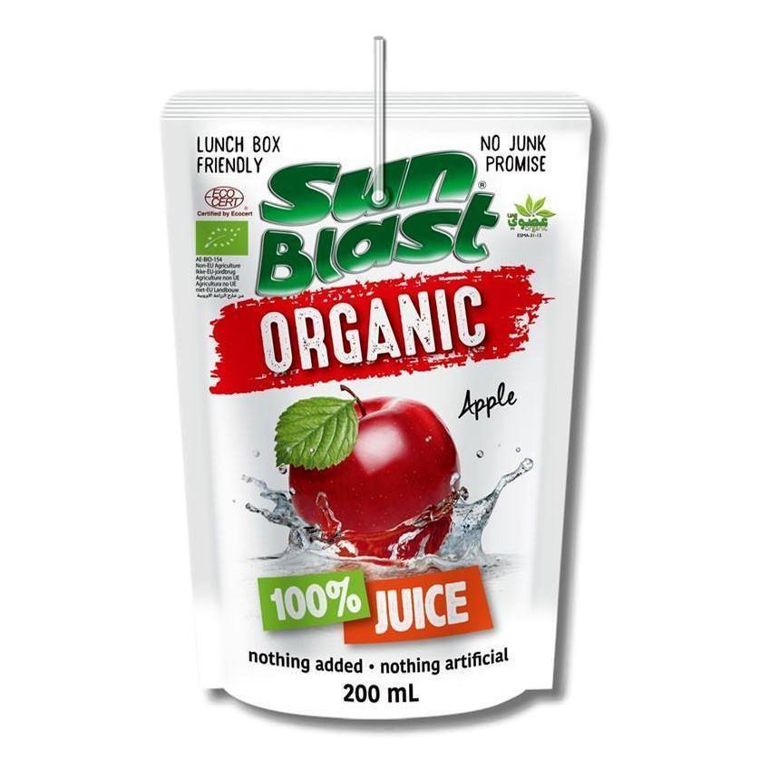 Sun Blast Organic 100% Fruit Juice (10 Packs x 200