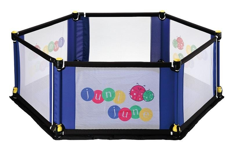 juni june 6 Sided Deluxe Fabric Play Yard with Pla