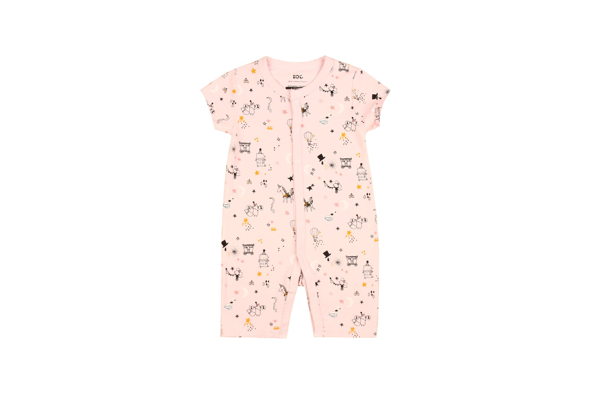 Pink Circus Short sleeve Flat Bottom Onesie
