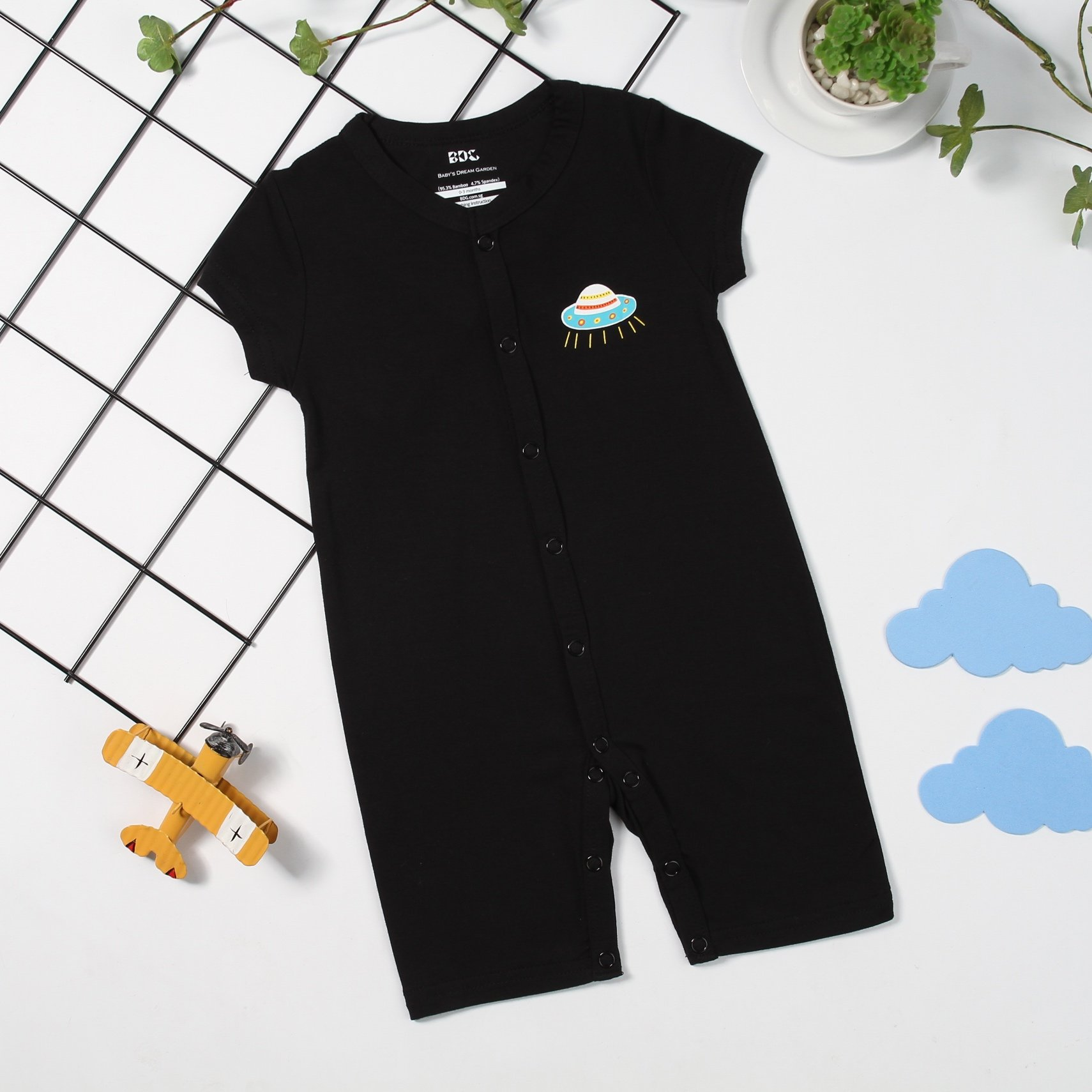 To the Moon Short sleeve Flat Bottom Onesie