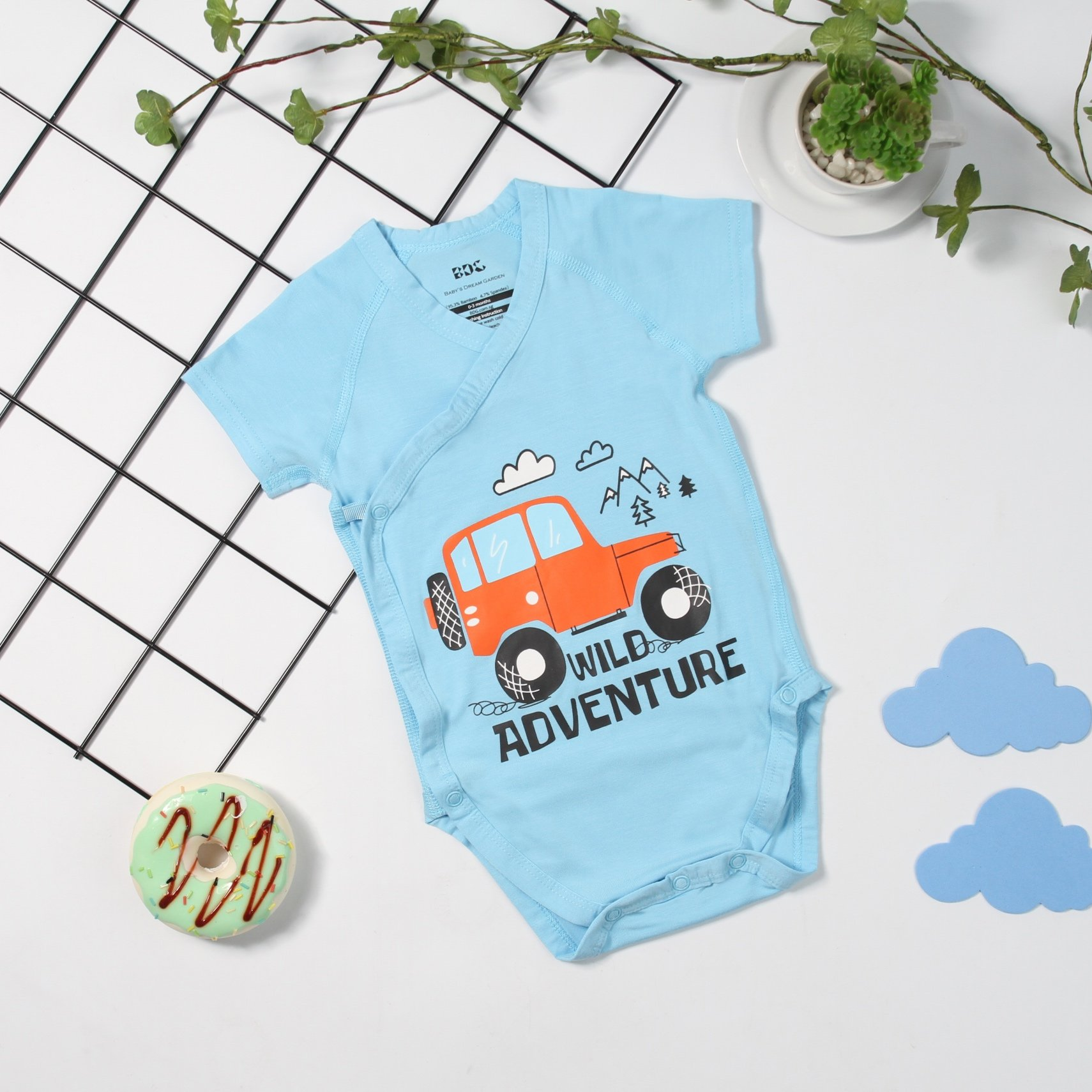 Tuk Tuk Car Short Sleeve Monk Romper (Blue)