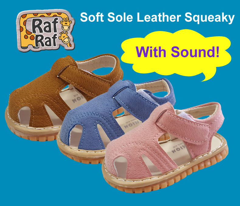 Raf Raf Leather Sandals Squeaky w/Sound (9m to 1.5