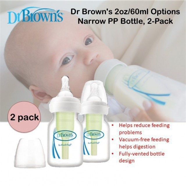Dr. Brown's 2oz/60ml Options Narrow PP Bottle, 2-P