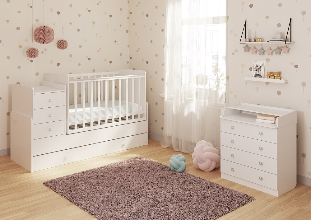 Polini Simple 1100 Convertible Cot With Drawer Uni