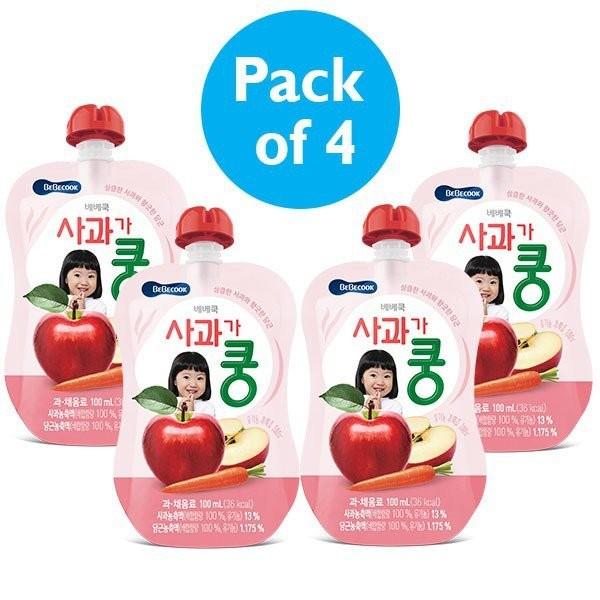 4 x BeBecook - Organic Apple & Carrot Juice 100ml