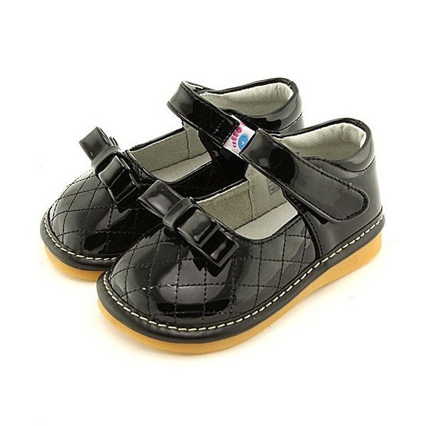 Freycoo - Black Marie Ann Squeaky Toddler Shoes