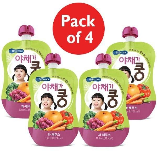 4 x BeBecook - Organic Fruit & Veg Juice 100ml