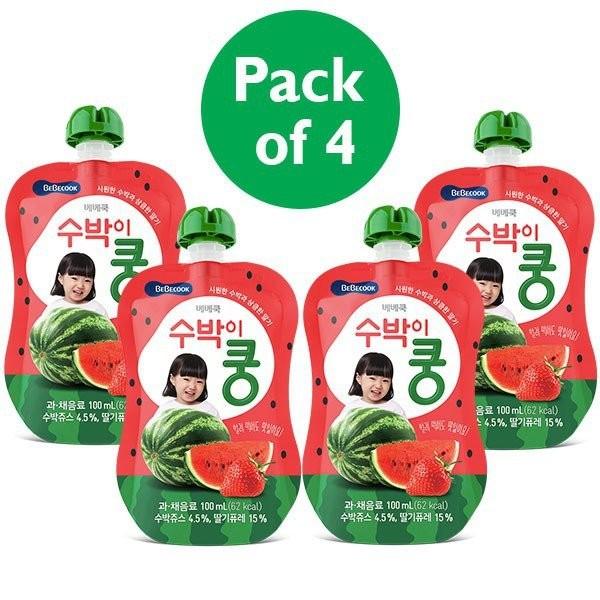 4 x BeBecook - Strawberry & Watermelon Juice 100ml