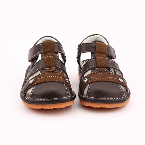 Freycoo - Oak-Brown Toby Squeaky Toddler Shoes