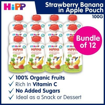 100% Organic HiPP Strawberry Banana in Apple Pouch