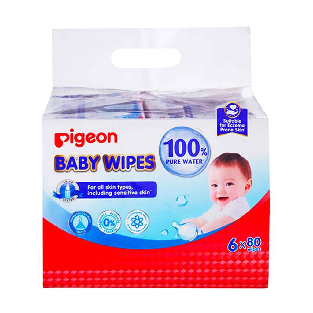 Pigeon Baby Wipes 82 Sheets Water Base, 6 In 1 Bag