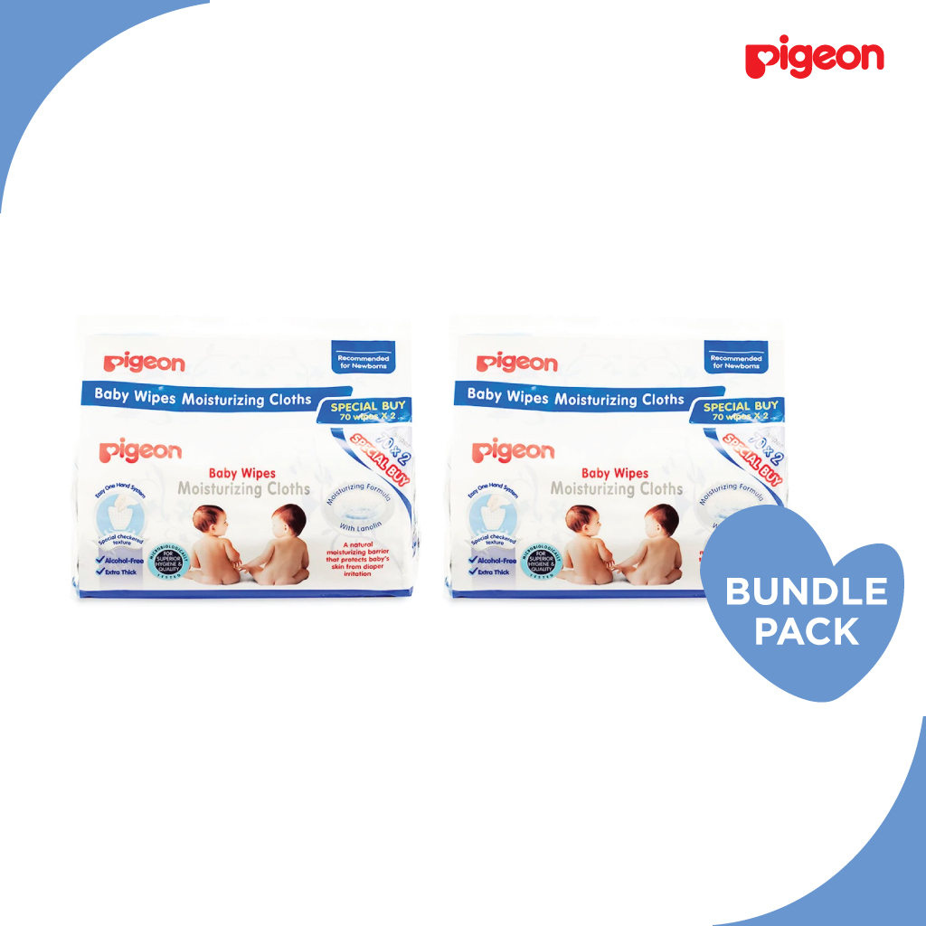 Pigeon Baby Wipes Moisturizing Cloths 70S, 2 In 1