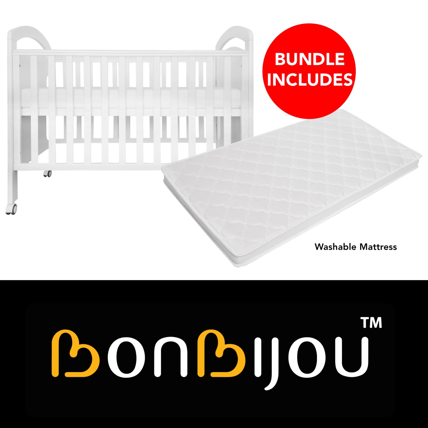 Osito 5-in-1 Baby Cot with Washable Mattress