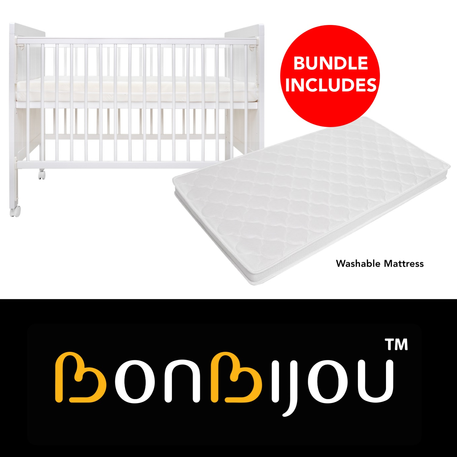 Atlas 5-in-1 Baby Cot with Washable Mattress