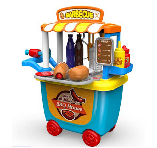 CHILDREN PLAY HOUSE TOY - BBQ HOUSE CART