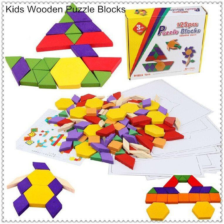125 PCS WOODEN PATTERN BLOCKS - GEOMETRIC SHAPES